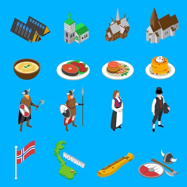 Atrações turísticas de noruega isométrica coleção de ícones Vetor grátis