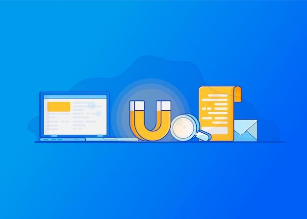 Atrair clientes online. marketing de entrada digital Vetor Premium