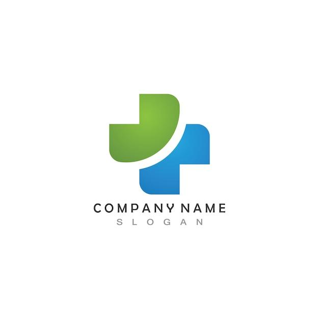 Atravessar o logotipo do hospital médico Vetor Premium