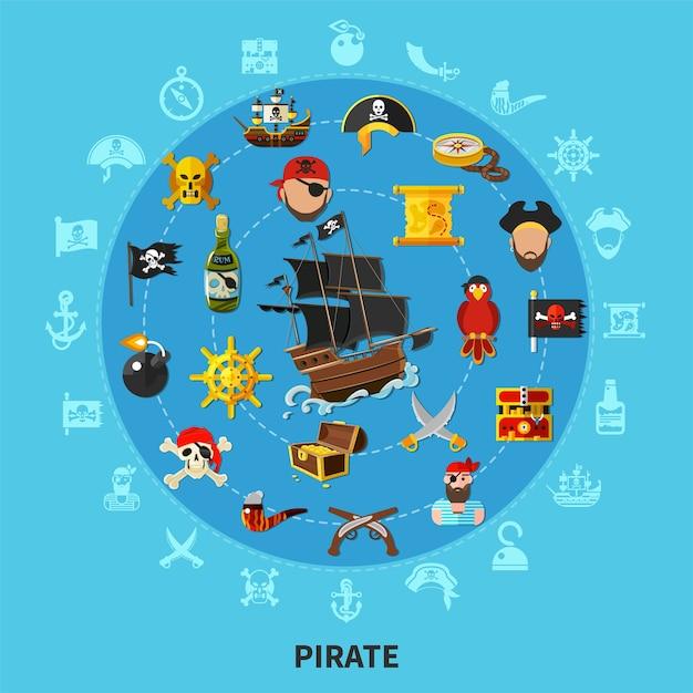 Atributos do pirata, incluindo navio a vela, arma, tesouro, mapa, papagaio, composição de desenho redondo Vetor grátis