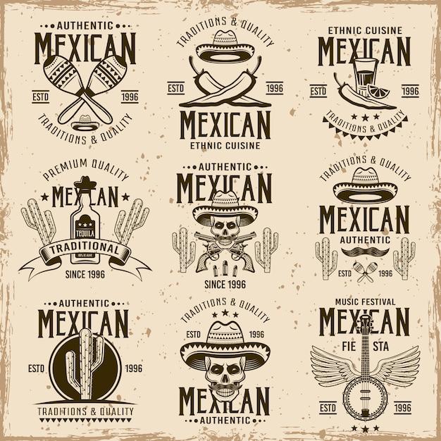Atributos nacionais mexicanos e sinais autênticos, conjunto de emblemas, etiquetas, emblemas e logotipos marrons em fundo sujo com manchas e texturas grunge Vetor Premium