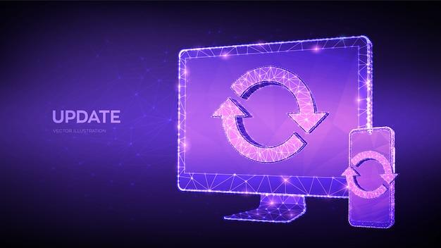 Atualização, conceito de sincronização. monitor de computador poligonal baixo e smartphone com sinal de atualização. Vetor Premium