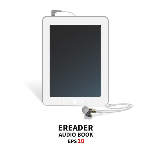 Audiobook com fones de ouvido. Vetor Premium