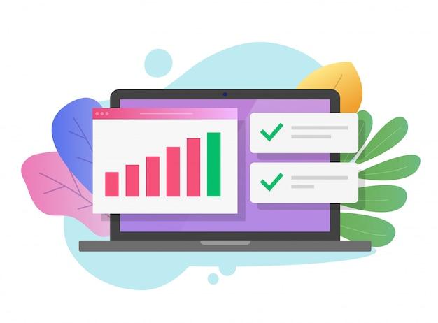 Auditoria de estatísticas de dados de vendas ou pesquisa financeira no laptop do computador Vetor Premium