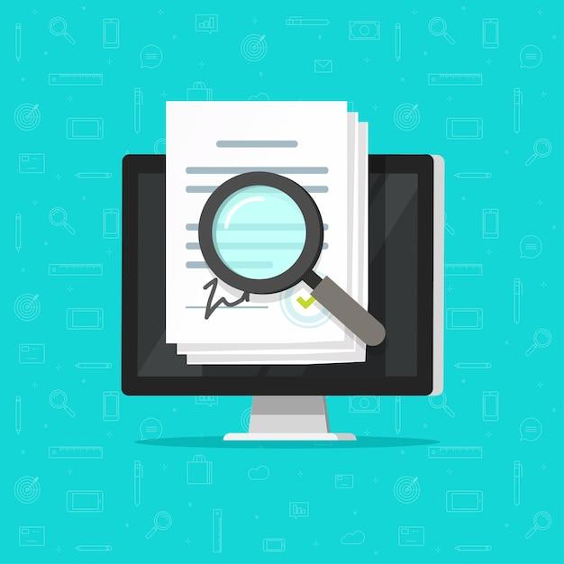 Auditoria de inspeção de análise online de estatutos corporativos, documentos de contrato de acordo digital Vetor Premium