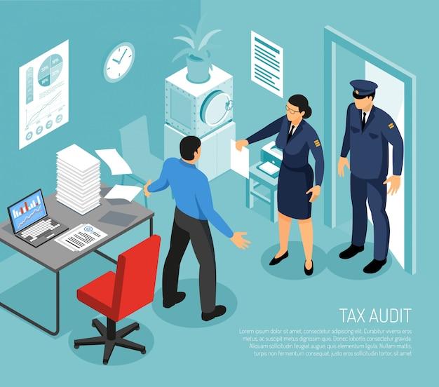 Auditoria fiscal no escritório de negócios com inspectores e falha na reunião ilustração em vetor composição isométrica contador prazo Vetor grátis