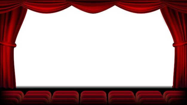 Auditório com vetor de assento. cortina vermelha. teatro, cinema e assentos. palco e cadeiras. ilustração realista Vetor Premium