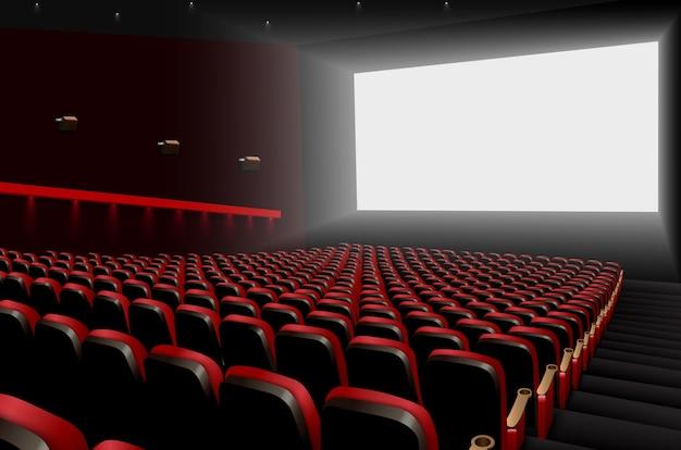 Auditório de cinema com assentos vermelhos e tela branca em branco Vetor Premium
