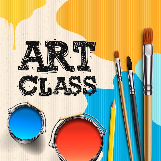 Aula de arte, design de modelo de oficina. crianças arte artesanato, educação, conceito de classe de criatividade, ilustração Vetor Premium