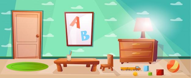 Aula de escola primária com mesa para estudar para crianças Vetor Premium