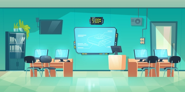 Aula de informática no interior vazio da universidade escola Vetor grátis