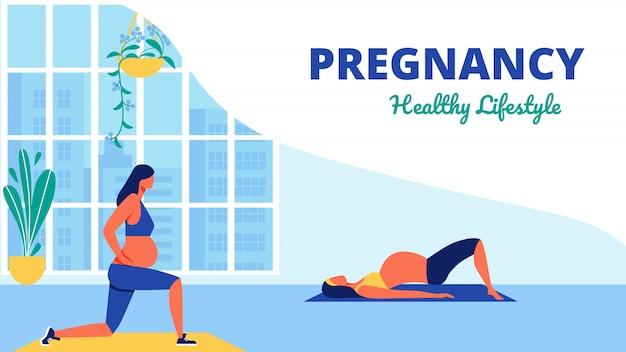 Aula de yoga para gestantes lifistile saudável Vetor Premium