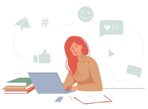 Aula online para marketing de mídia social, targetologist, er. mulher jovem, estudando em casa, assistindo ao treinamento de webinar de mídia social de vídeo blog no laptop. educação a distância, e-learning Vetor Premium