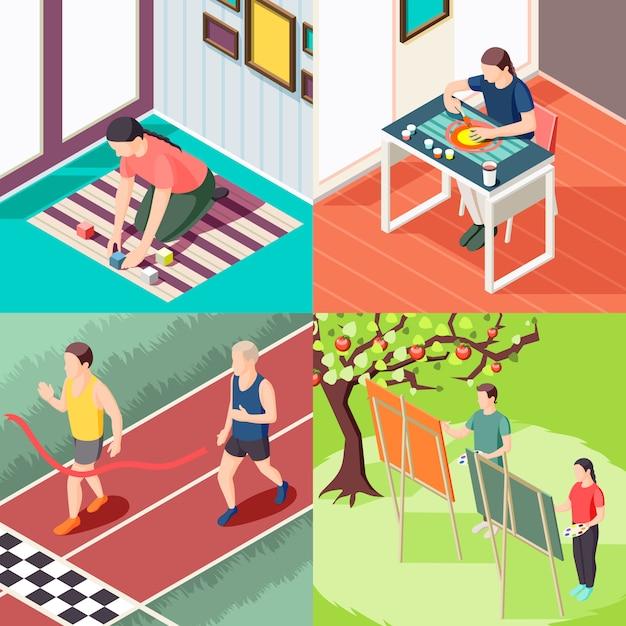 Aulas de pintura de atividade esportiva de educação alternativa e conceito isométrico de métodos de aprendizagem inovadores isolados Vetor grátis