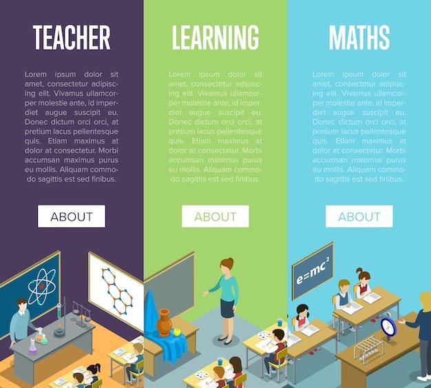 Aulas de química, artes e matemática na escola Vetor Premium