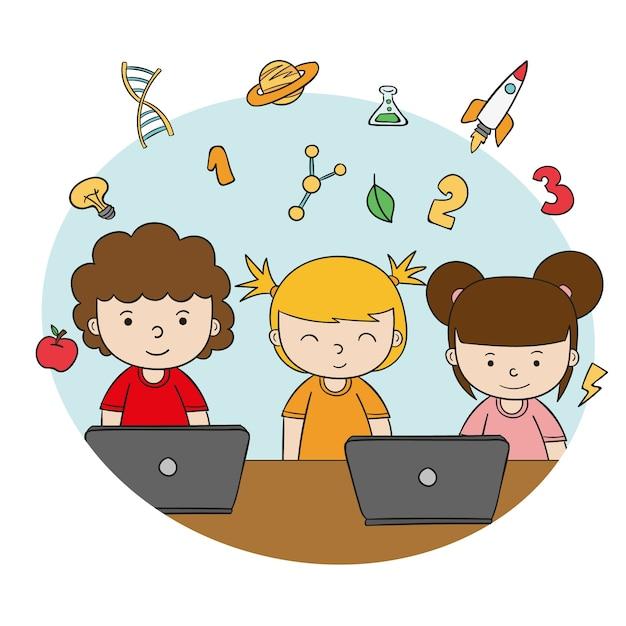 Aulas online para crianças Vetor Premium