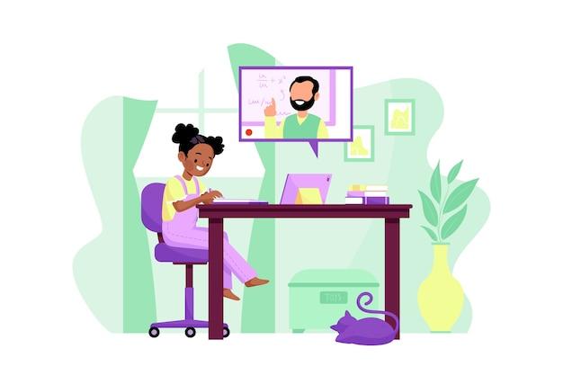 Aulas online para crianças Vetor grátis