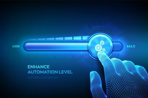 Aumentando o nível de automação. conceito de tecnologia de inovação de automação de processos robóticos rpa. a mão do wireframe está puxando a barra de progresso da posição máxima com o ícone de engrenagens. Vetor Premium