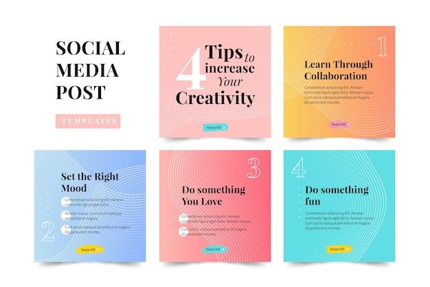 Aumente sua coleção de postagens do instagram de dicas de criatividade Vetor grátis