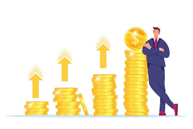 Aumento da receita, crescimento da receita de dinheiro ou retorno sobre ilustração vetorial de investimento com empresário, moedas de ouro empilhadas. Vetor Premium