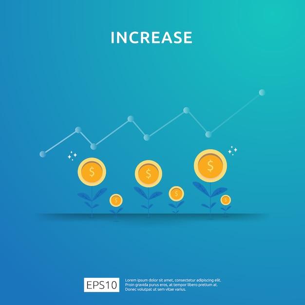 Aumento da taxa salarial de renda. financie o desempenho do conceito de roi de retorno do investimento com seta. receita de margem de crescimento de lucro comercial. ícone de venda de custo. ilustração de estilo plano de símbolo de dólar Vetor Premium
