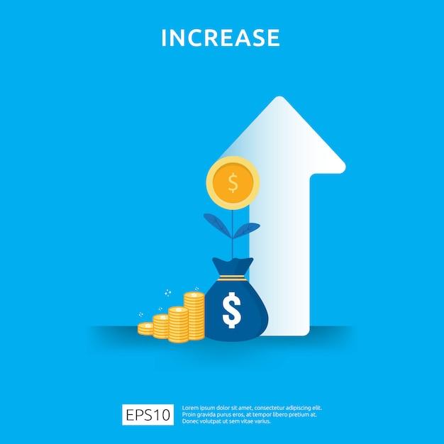 Aumento da taxa salarial de renda. receita de margem de crescimento gráfico de gráfico de negócios. financiar o desempenho do conceito de roi de retorno do investimento com elemento de seta. design de estilo simples Vetor Premium