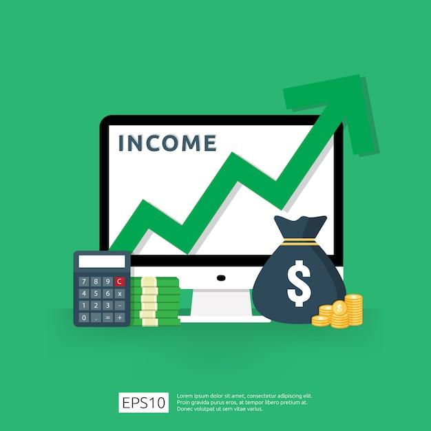 Aumento da taxa salarial. financie o desempenho da renda do retorno sobre o investimento roi conceito com seta. Vetor Premium