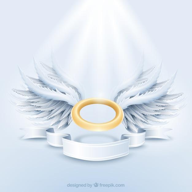 Auréola dourada e as asas brancas Vetor grátis