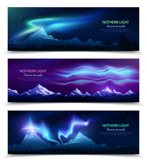 Aurora boreal aurora boreal céu noturno e paisagem 3 banners horizontais realistas coloridos conjunto isolados Vetor grátis