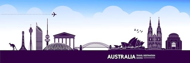 Austrália viagem destino grande ilustração. Vetor Premium