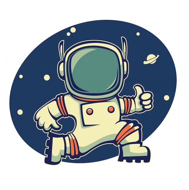 Austronauta retrô no espaço sideral, ilustração dos desenhos animados Vetor Premium