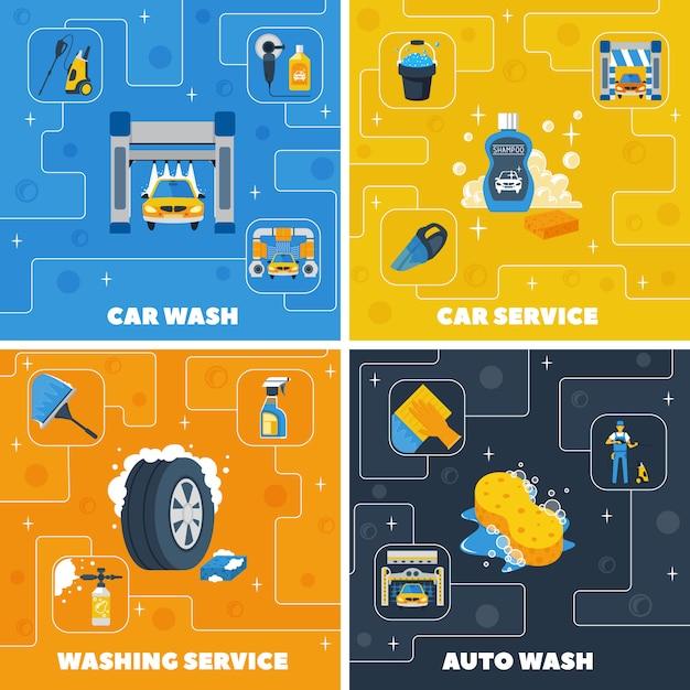 Auto center car wash 4 ícones lisos quadrado composição Vetor grátis