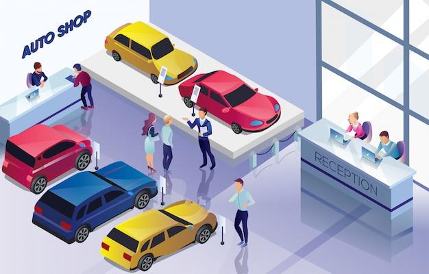 Auto loja com carros para vender, banner de compradores. Vetor Premium