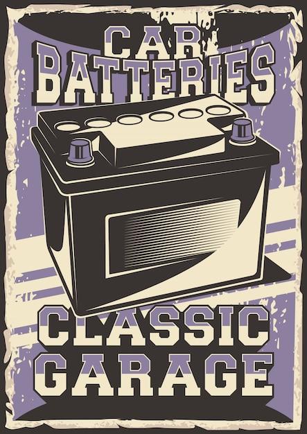 Auto service car battery power peça de reposição service repair parcel parcel poster retro rustic vector Vetor Premium