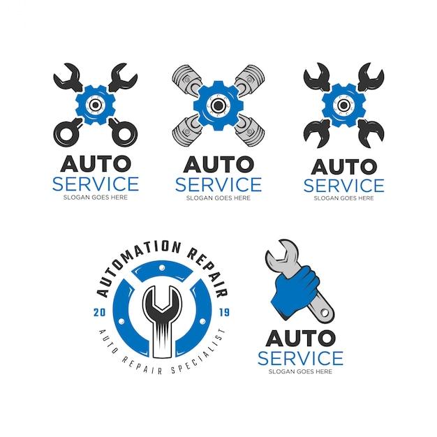 Auto service logo design set Vetor Premium