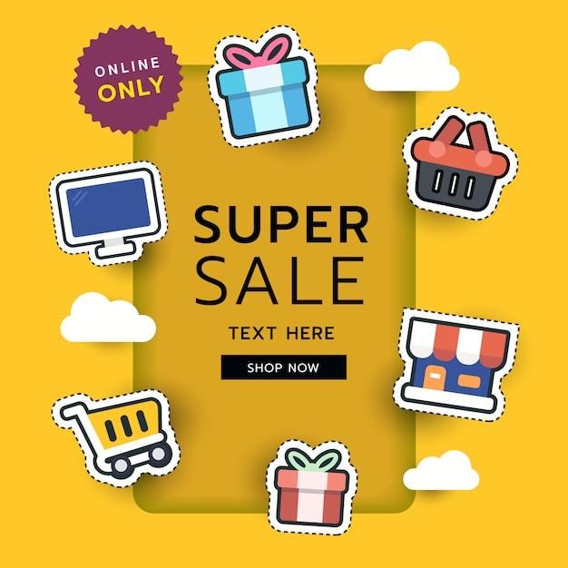 Autocolante de compras online Vetor Premium