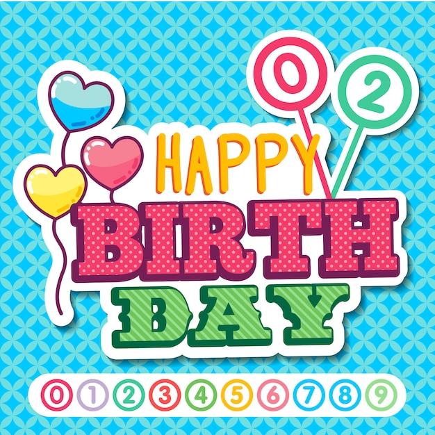 Autocolante de feliz aniversário Vetor Premium