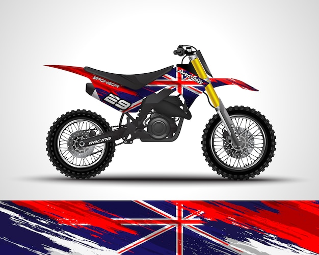 Autocolante de motocross e autocolante de vinil Vetor Premium