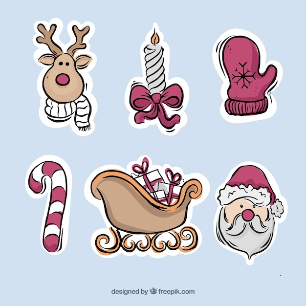 Autocolantes desenhos bonitos de ornamentos tradicionais de natal Vetor grátis