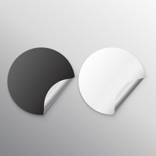 Autocolantes em branco preto e branco com onda Vetor grátis
