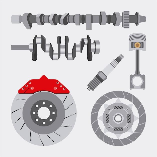 Automotive industry spare parts reparação de automóveis Vetor Premium