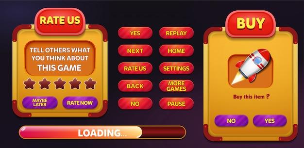Avalie-nos e compre menu pop-up tela com estrelas e botão Vetor Premium