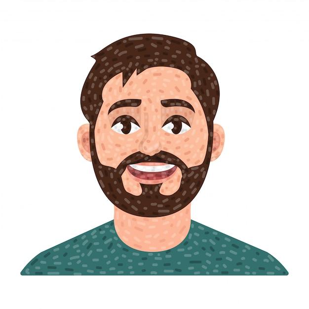 Avatar de homem barbudo, retrato de vetor de homem Vetor Premium