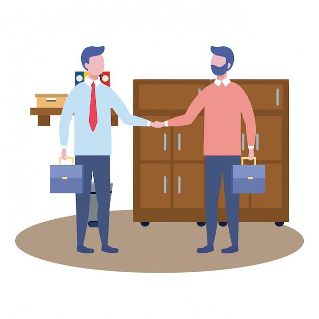 Avatar de homens de negócios dos desenhos animados Vetor grátis