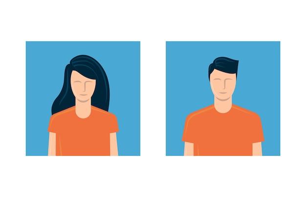 Avatar de jovem e mulher. Vetor Premium