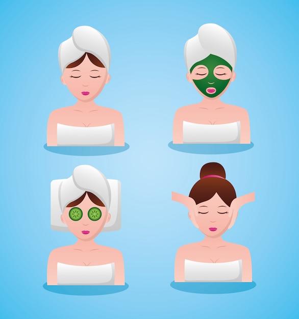 Avatar de mulheres em terapia de spa Vetor grátis