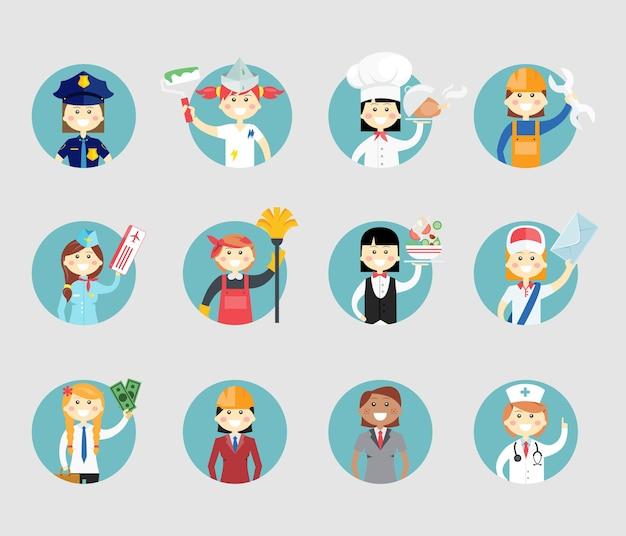 Avatar de mulheres profissionais definido em botões redondos da web um sargento da polícia pintor chef mecânico aeromoça limpador garçonete trabalhador dos correios empresária arquiteto e médico Vetor grátis