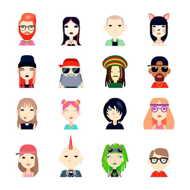 Avatar de subculturas e pessoas conjunto com ilustração em vetor hippie e hipster plana isolada Vetor grátis