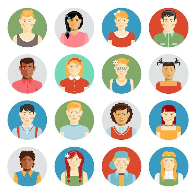 Avatar de vetor de crianças coloridas e sorridentes com crianças multirraciais de diversas etnias Vetor grátis