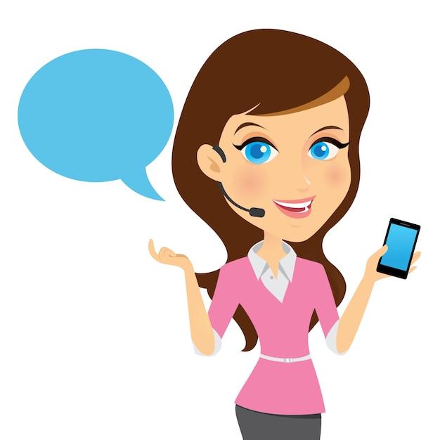 Avatar garota contata-nos serviço de informação ilustração vetorial Vetor Premium